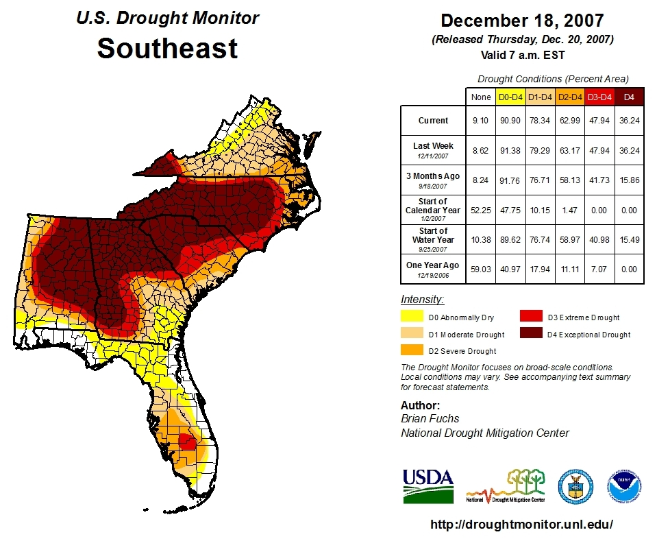National drought monitor map from 2008 shows extreme and exceptional drought conditions throughout the Southeast United States.